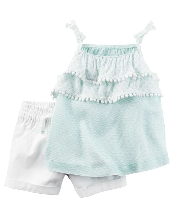 Baby Girl 2-Piece Layered Tank & Twill Short Set Featuring an on-trend layered-look tank and easy-on twill shorts, this 2-piece set keeps her cute and comfy for all-day play.