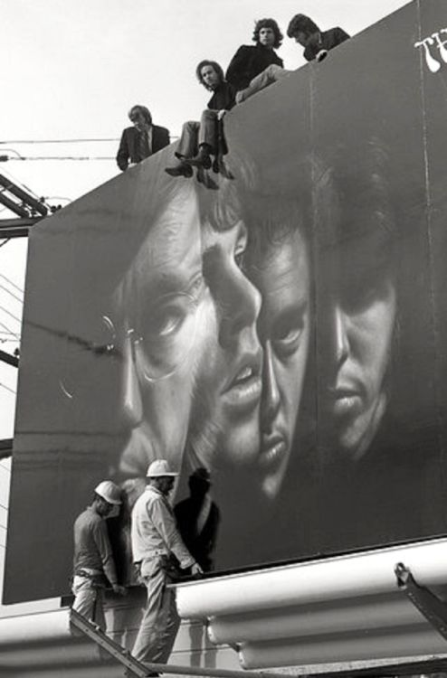 The Doors, a top their Sunset Strip billboard 1967