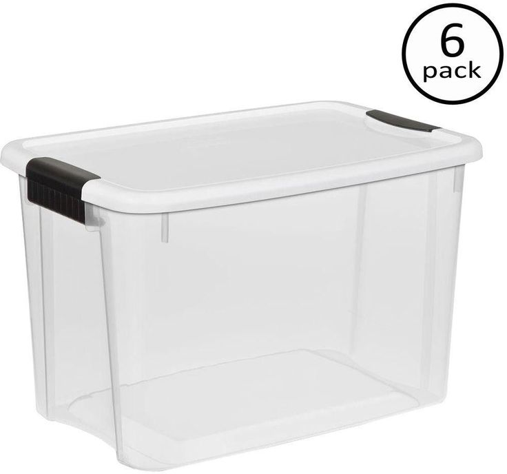 STACKABLE STORAGE BOXES Clear Plastic Organizer Container Bins 30 Qt. 6 Pack #Sterilite