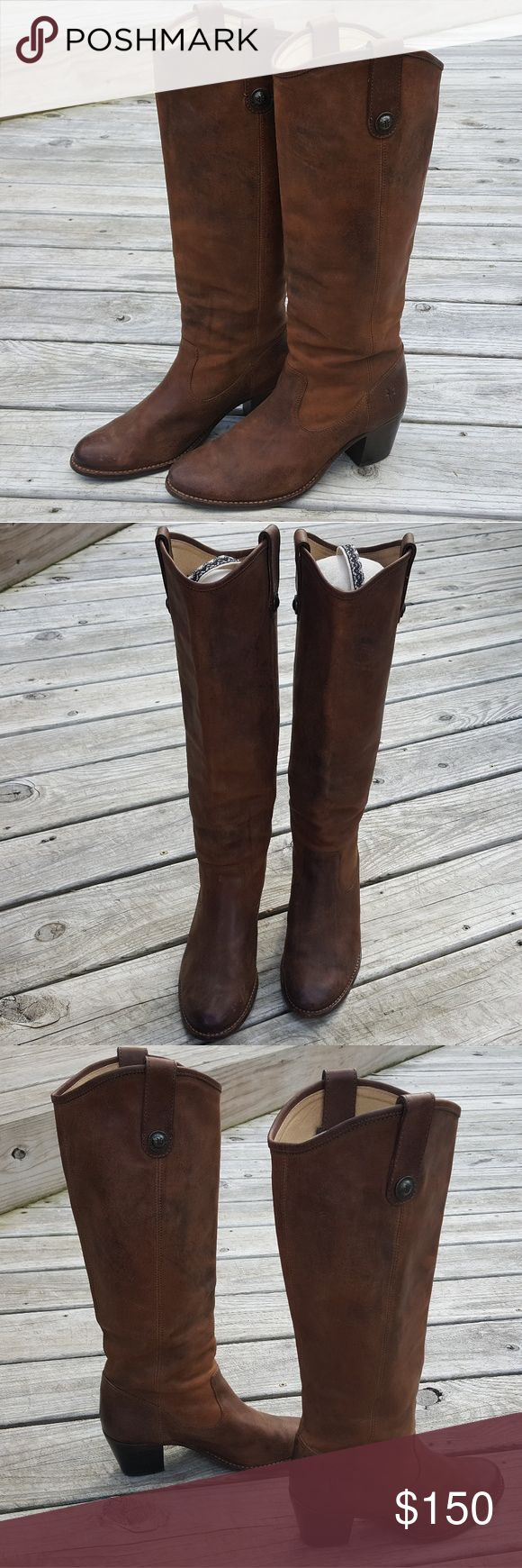 Frye Melissa Distressed Button Casual Tall Boot These gorgeous Frye boots come in a distressed brown leather and are in good pre-owned condition. There are some scuffs as can be seen in the photos. Size 8.5. Frye Shoes Heeled Boots