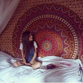 Economic Range of Tapestries from 'Bluspirits', Mandala Queen Hanging Tapestry, Beautiful Indian Hippie Cotton Bedspread/ Beach Blanket
