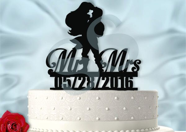 Ariel and Eric With Date Wedding Cake Topper by SilhouetteSensations on Etsy https://www.etsy.com/uk/listing/268088720/ariel-and-eric-with-date-wedding-cake