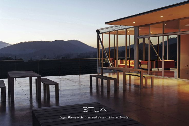 Logan winery in Australia with STUA Deneb tables and benches, wine is a good excuse to go out and enjoy the twilight. A project by Stylecraft.