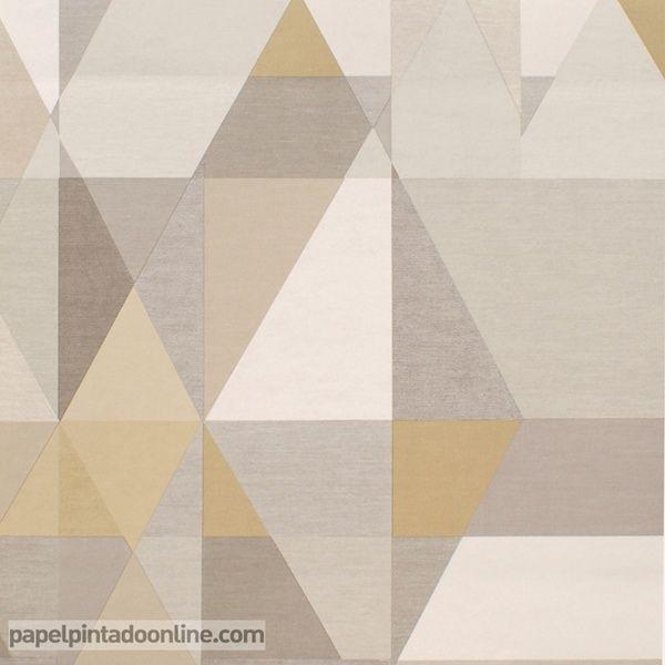 Papel Pintado Spirit&Soul 110835 con distintas figuras geométricas en tono de marrón, gris y blanco.