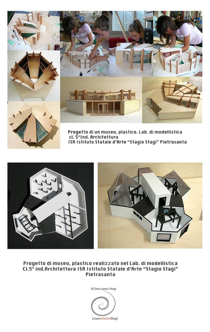 """Progetto di due musei, plastici realizzati nel Lab. di modellistica, cl. 5° ind. Architettura, ISA Istituto Statale d'Arte """"Stagio Stagi"""" Pietrasanta."""