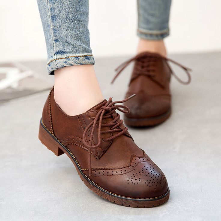 Womens Girl Brogue Oxfords British Lace Up Low Heels Pumps Wingtip College Shoes in Clothing, Shoes & Accessories, Women's Shoes, Flats & Oxfords | eBay