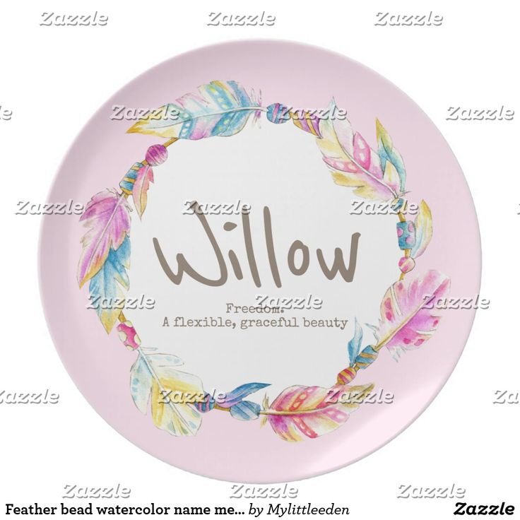 Feather bead watercolor name meaning willow pink dinner plate