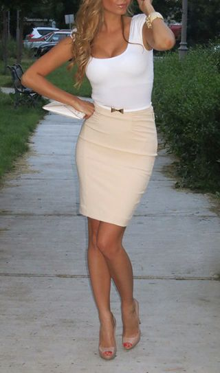 White top with high waisted pink pin skirt