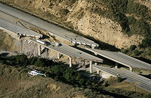 The 1994 Northridge earthquake caused extensive damage to the Interstate 5 and Gavin Canyon undercrossing  bridge, which Caltrans reconstructed in record time.
