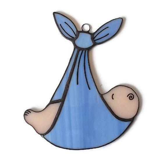 Baby Boy Stained Glass Suncatcher, New Baby Boy Gift, Newborn Baby Boy Present, Stained Glass Suncatcher