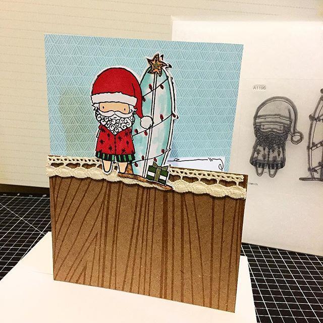 Surfin' Santa (A1196) Christmas Half Cut Card created with Close To My Heart Rustic Home (Z3262) Fundamentals & Swan Lake (X7212B) Papers. www.maz.closetomyheart.com.au