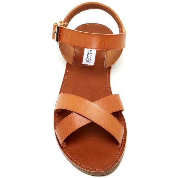 Steve Madden Bairn Sandal ($35) ❤ liked on Polyvore featuring shoes, sandals, steve madden flats, strappy flats, adjustable strap sandals, strap flats and criss-cross sandals