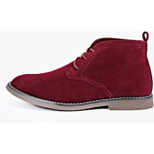 BoohooMAN Blue Desert Boots ($26) ❤ liked on Polyvore featuring men's fashion, men's shoes, men's boots, shoes, burgundy, burgundy mens shoes, mens loafers, mens loafer shoes, mens brogues and mens fur lined shoes