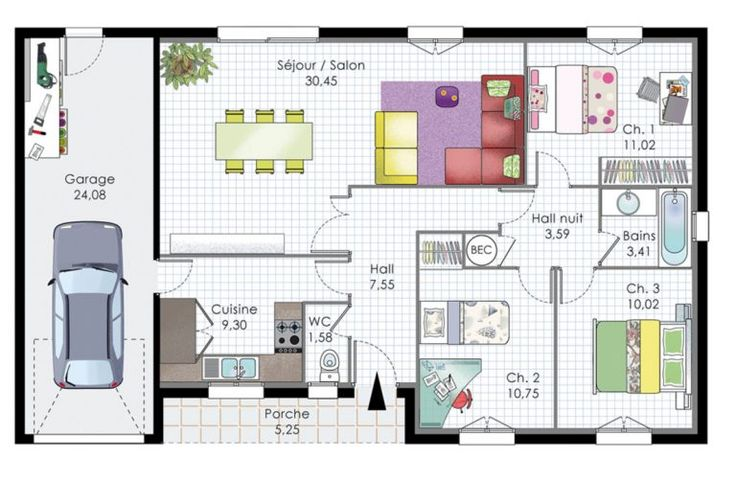 plan maison plain pied moderne