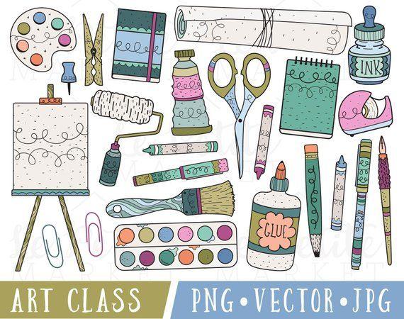 Art Supplies Clipart Art Class Clip Art Clipart For Teachers Commercial Use Clipart Classroom Clipart School Supplies Clipart Png Clip Art Hand Art Drawing Art Lessons