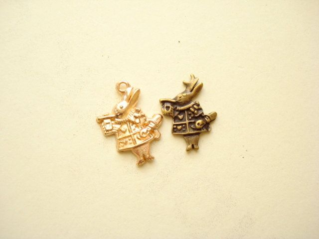 20pcs (2 colour) Cute Rabbit Charm Pendant Antiqued Bronze and Gold Plated 20x14mm B336(2) by yooounique on Etsy