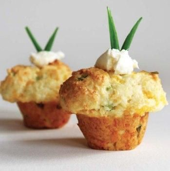 Cheddar Scallion Cupcakes with Whipped Cream Cheese- I wonder if these are as good as RL Cheddar Bay Buiscuits...only way for me to find out is to try it :)