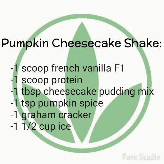 Pumpkin cheesecake Herbalife shake recipe.  https://www.goherbalife.com/meaganms/en-US