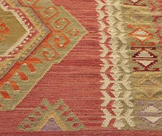 POTTERY BARN Diamond Kilim Wool RUG 5x8 5 X 8 Red NEW IN