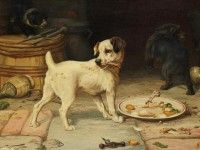 Скачать обои животные, William Henry Hamilton Trood, косточка для собаки 1280x1024