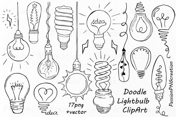 Doodle Light Bulb Clipart by PassionPNGcreation on @creativemarket