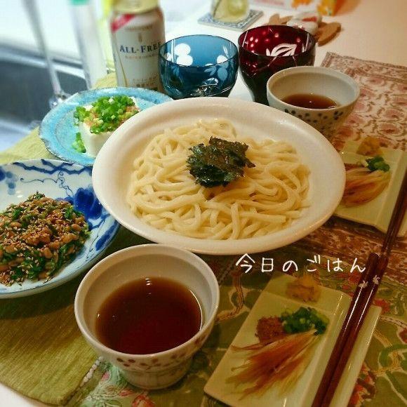 0530夕ごはん☆水沢うどん薬味たっぷり、おかひじき納豆和え   ゆう ...