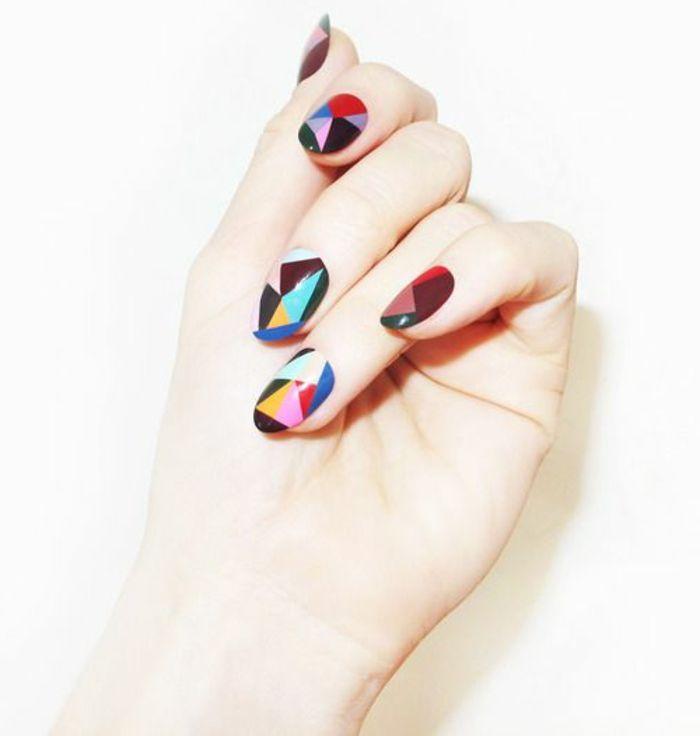 ongles décorés deco ongle gel, deco coloréе facile a faire