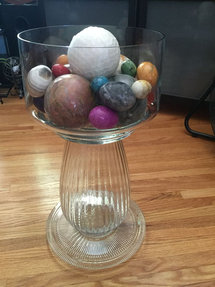 I made this glass birdbath to use indoors as storage/display for stone globes and eggs. When I get tired of it, it will move to the garden.