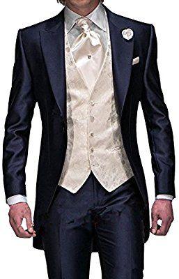 GEORGE Herren Anzug Tuxedos Smokingsakko Anzuege 3-Teilig Anzug Sakko,Anzug Hose,Weste 134,XL