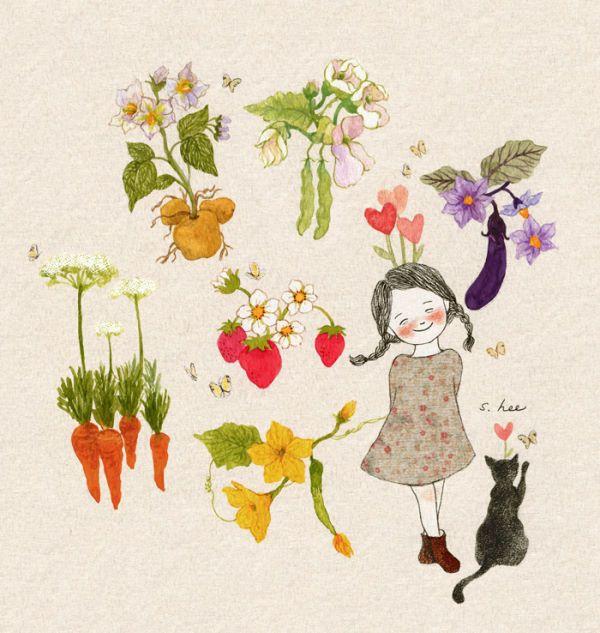 감자꽃, 당근꽃....실제로 본 적이 있나요? 오이와 가지, 강낭콩... 우리가 즐겨먹는 채소들 모두가 꽃을 가지고 있어요. 그리고,,,생각보다 훨씬 예쁜 꽃들이지요. 화병에 꽂아두고 싶을만큼요~ 앙증맞고 사랑스러운 꽃들이 활짝 피고 나야 우리가 먹을 수 있는 맛있는 채소가 된답니다. 우리에게도 꿈을 꾸는 작은 꽃들이 있어 그 꽃들 덕분에 우리의 마음이 아름답게 영글어가고 있어요. 얼핏 보면 잘 보이지 않는 것 같지만... 자세~~히 들여다보면... 생각보다 훨씬 예쁜 꽃이 피어 있을 거에요.....