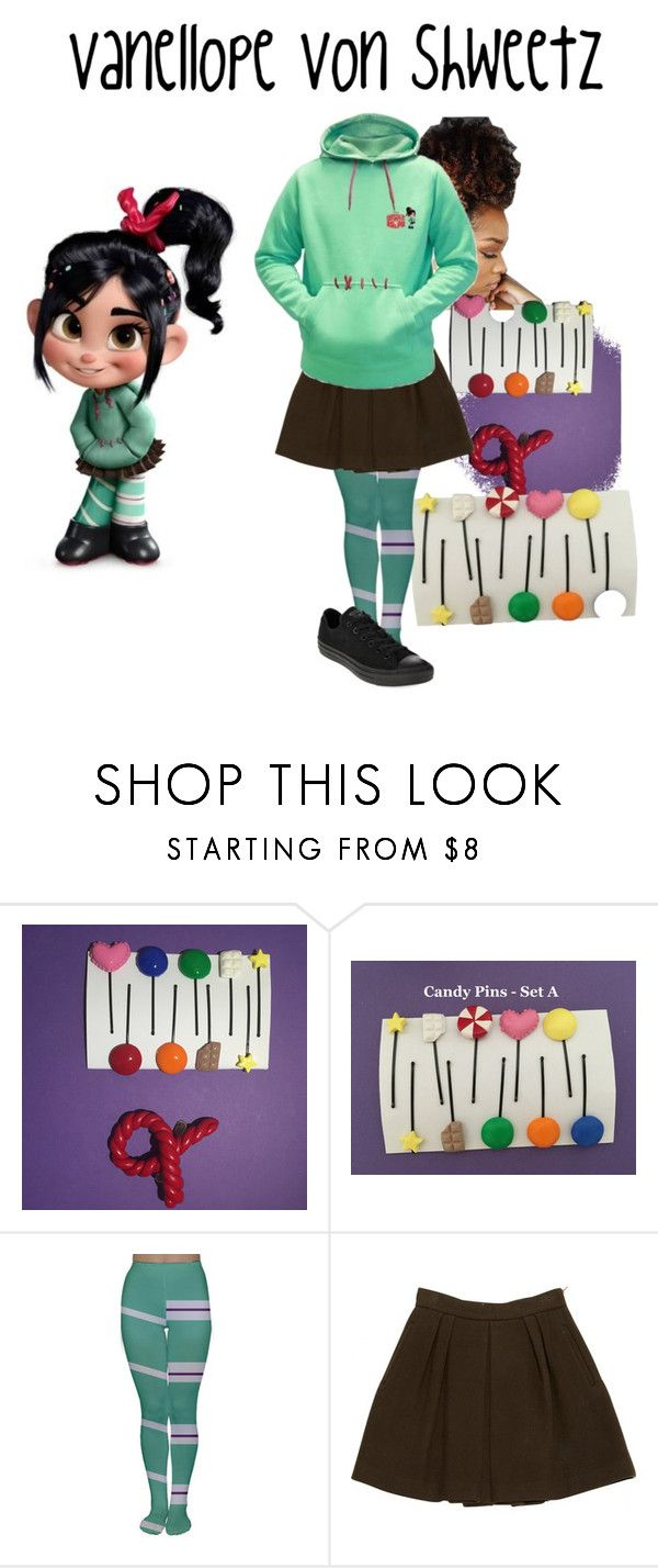 """""""Vanellope Von Shweetz"""" by myluluann on Polyvore featuring RALPH, STELLA McCARTNEY, Converse, disney, character, Costume, cosplay and Vanellope"""
