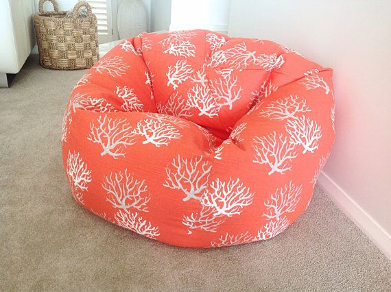 Coral Bean Bag Kids Teenagers Adults Bean Bag by MyBeachsideStyle