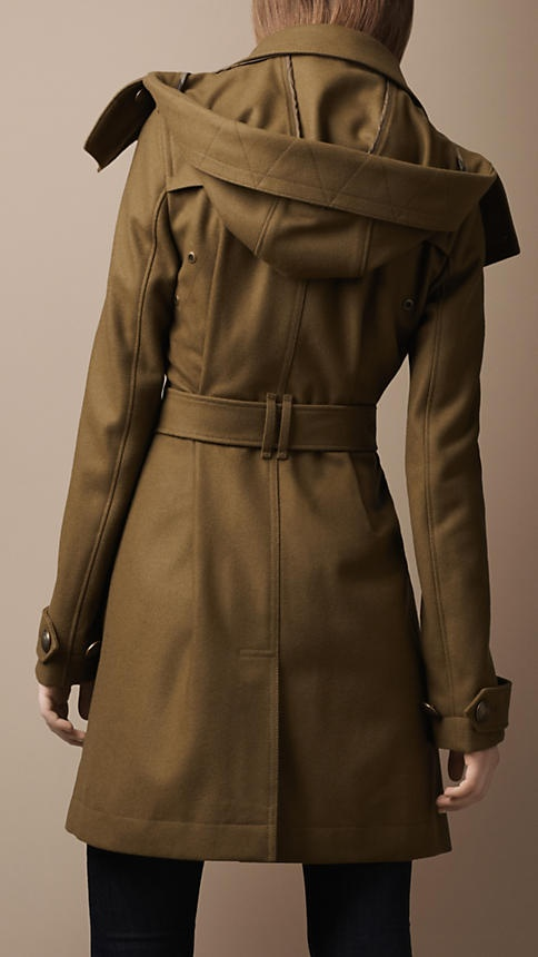 Mid-Length Wool Blend Hooded Trench Coat | Burberry