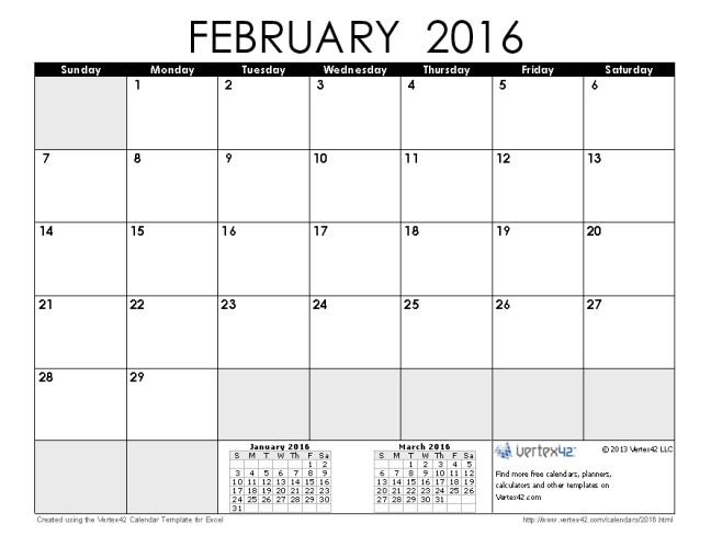 calendar february 2016 with holidays