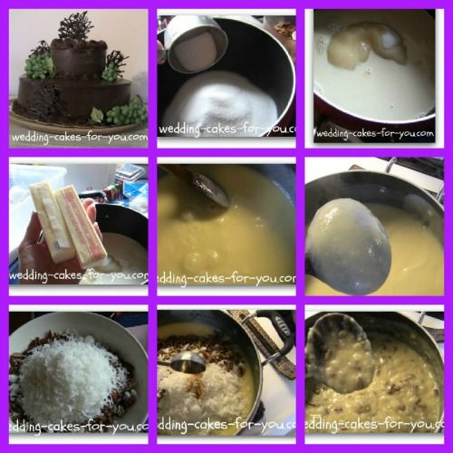 How to make coconut pecan filling for German chocolate cake. http://www.wedding-cakes-for-you.com/german-chocolate-cake-icing.html