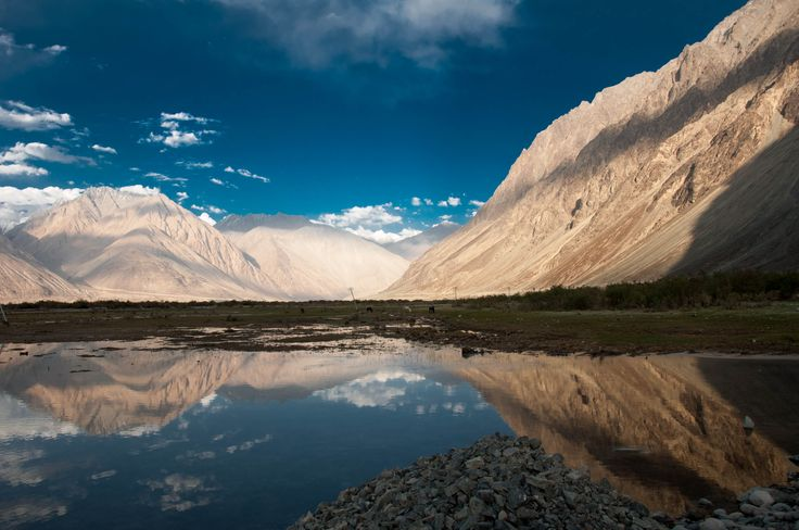 Nubra valley in Ladakh  Nubra Valley tour is one of the must visit places in Ladakh and is situated at about 120 kms from LEH. Popularly known as the 'Orchard of Ladakh' or Ldumra ('Valley of Flowers'). This scenic valley offers the visitors with the most spellbinding scenery, numerous ancient Buddhist monasteries , sacred lakes, unique and exclusive Bacterian camel safari and  awe-inspiring stretches of cold desert with sand dunes .