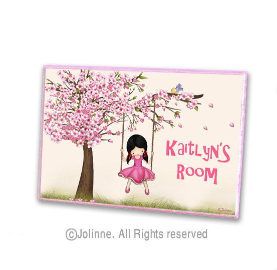 Cherry blossom tree personalized door sign kids room for Kids room signs