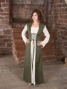 Mittelalterkleid mit Kapuze in olive-natur