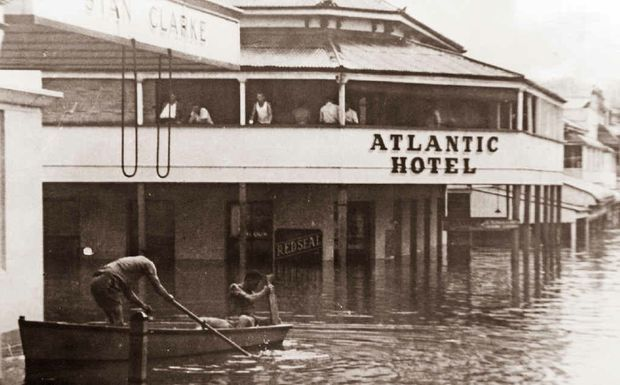 FLOODING OF THE ATLANTIC: The Atlantic Hotel, during a Mary St flood. Mama and Papa's Pizzeria is now there. The Gympie Times will feature historic pubs of the Gympie region over the coming weeks.