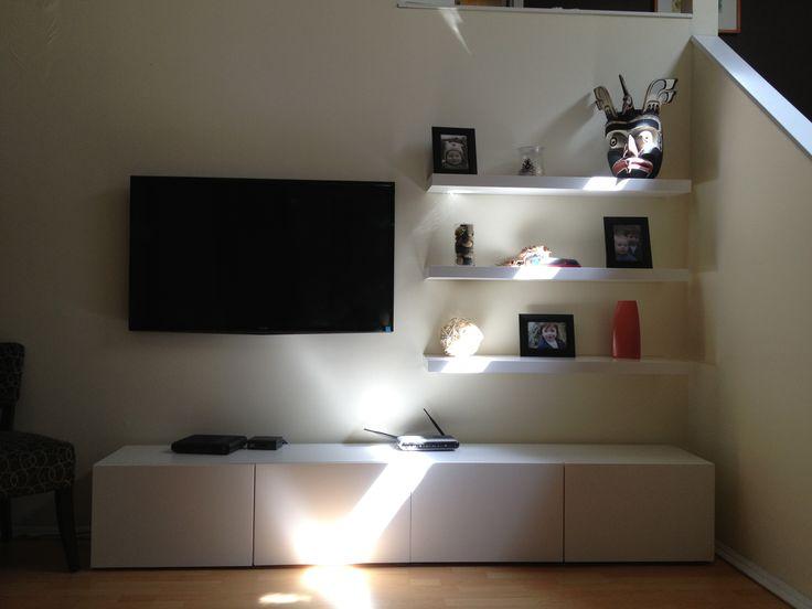 Budget entertainment unit -ikea besta and lack shelves