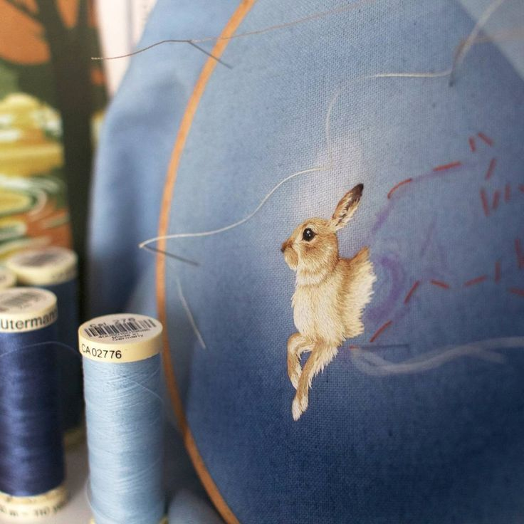 #embroidery #needlepainting #handembroidery #hare