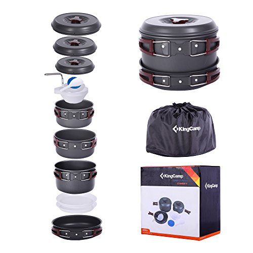 KingCamp 17 Pcs Portable Hard Anodized Aluminum Camping Picnic Cooking Ware Outdoor Hiking Backpacking Cookware Set. For product & price info go to:  https://all4hiking.com/products/kingcamp-17-pcs-portable-hard-anodized-aluminum-camping-picnic-cooking-ware-outdoor-hiking-backpacking-cookware-set/