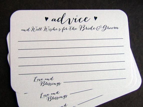 50 Wedding Advice For The Bride And Groom Printed Cards