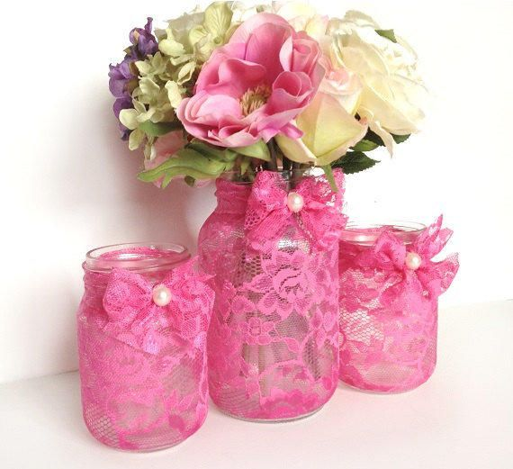 pink 3 piece lace covered candle holders and vase mason jars, gift, wedding decor or home decor