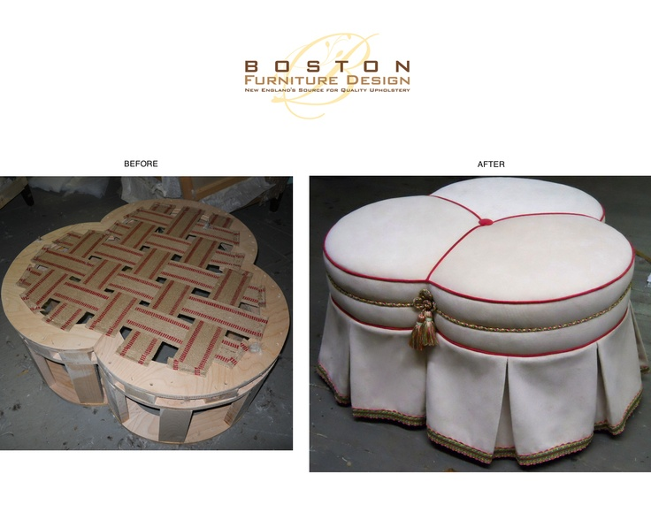 Custom built Trefoil / Clover Ottoman - Our client sent us a rough sketch of a clover shaped ottoman along with finished measurements. 2 weeks later... we proudly brought her vision to life - Crafted by Boston Furniture Design  #furniture #DIY #Design