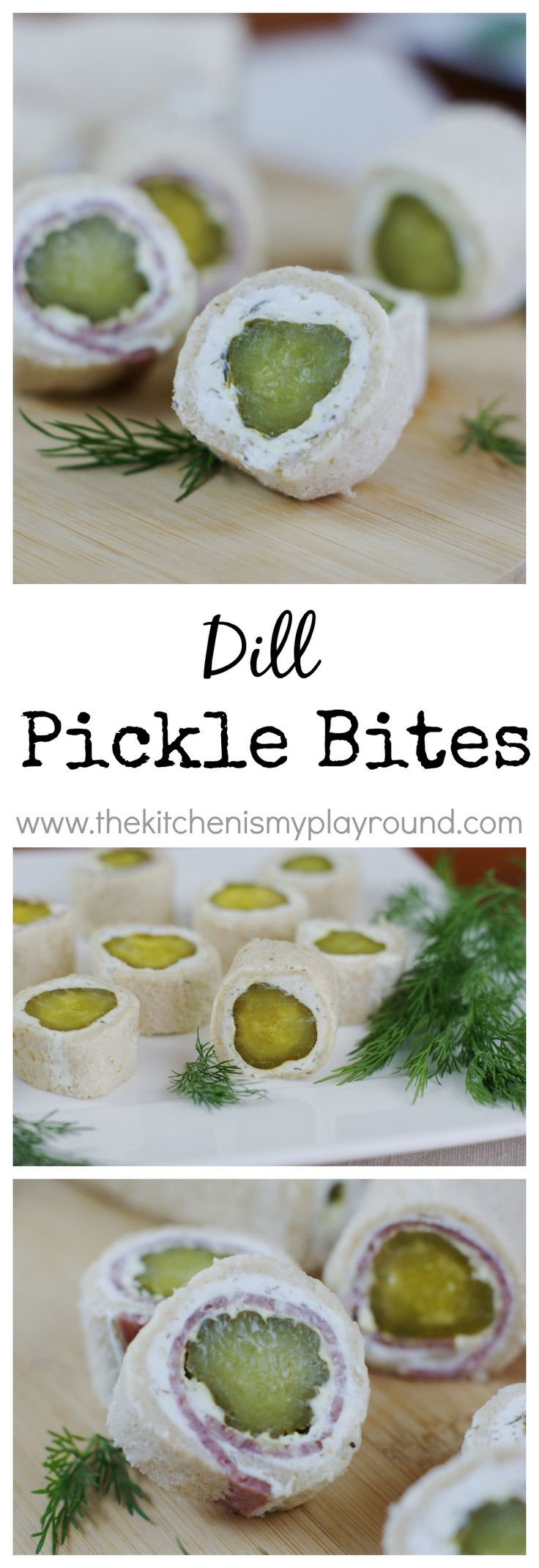 Dill Pickle Bites ~ the crunch and zing of dill pickles in a tasty little bite.   www.thekitchenismyplayground.com