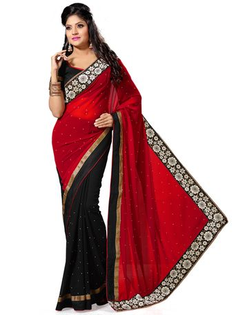 lack and Maroon Color Faux Georgette Saree with Stone and Patch Border Work.