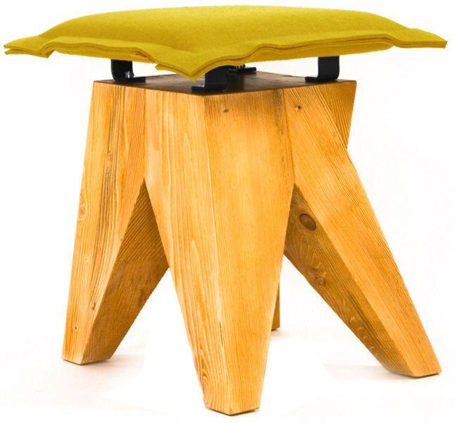Nowoczesny stołek LOW      Designerski stołek / hoker wyprodukowany w Polsce z wysokiej jakości materiałów - drewno świerkowe szczotkowane oraz filc. Nowoczesny mebel w zgodzie z naturą.
