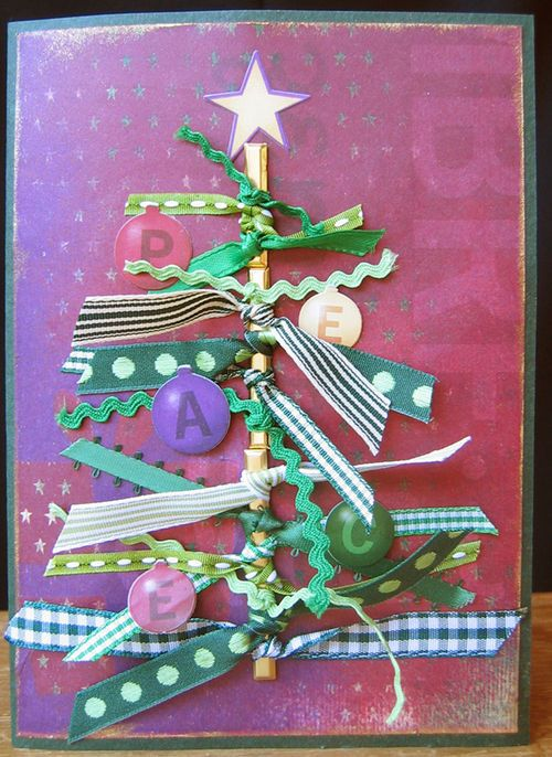 ribbon scrap card-neat idea for a hand delivered Christmas card.
