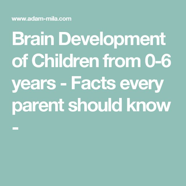 Brain Development of Children from 0-6 years - Facts every parent should know -